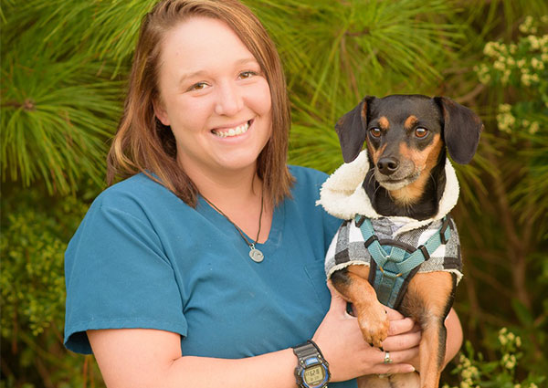 Veterinary Technician with Dog
